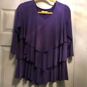 Susan Graver Liquid Knit Tiered Top - Size Small